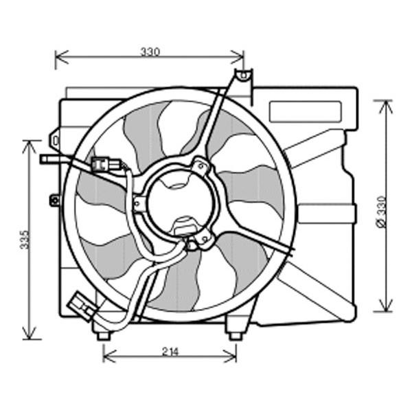 Radiator FAN COMPLEET GETZ 02->> +AC