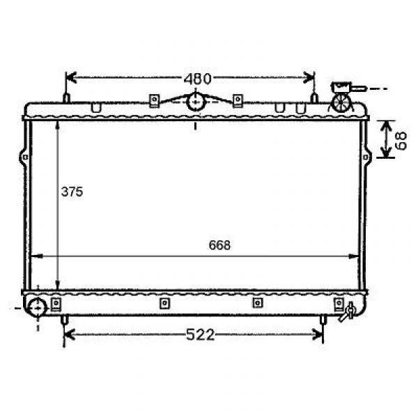 Radiator COUPE'LANTRA 95-02 375x668 1.5I/1.6I/1.8I/2.0I/1.9D