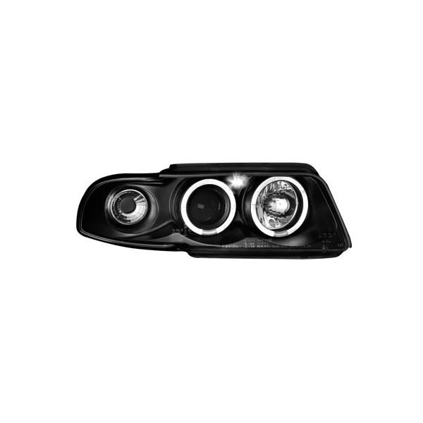 Koplampen Audi A4 95-99 Angel Eyes zwart