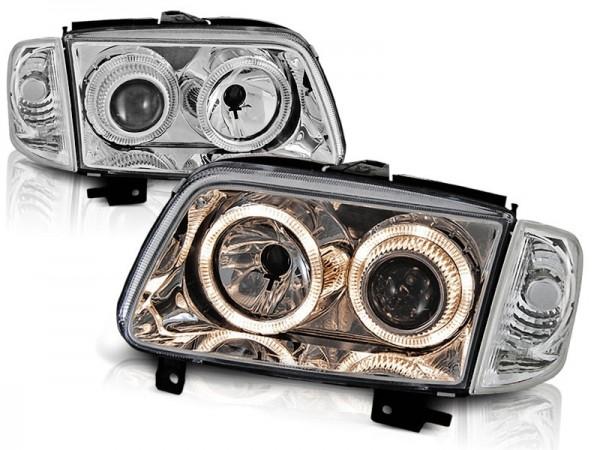 Koplampen VW Polo 6N2 99-01 Angel eyes chroom