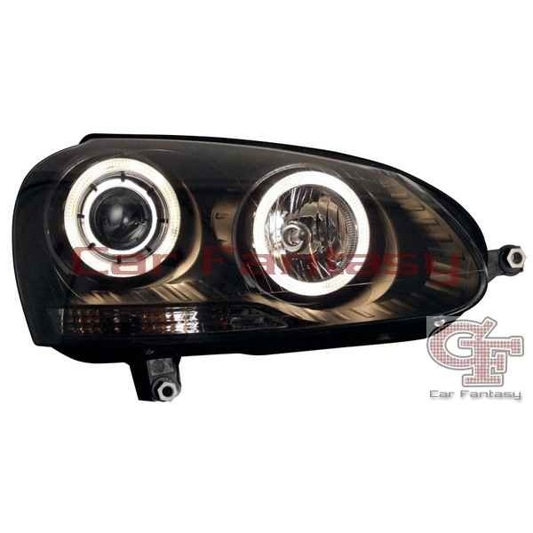 Koplampen VW Golf V Angel Eyes zwart