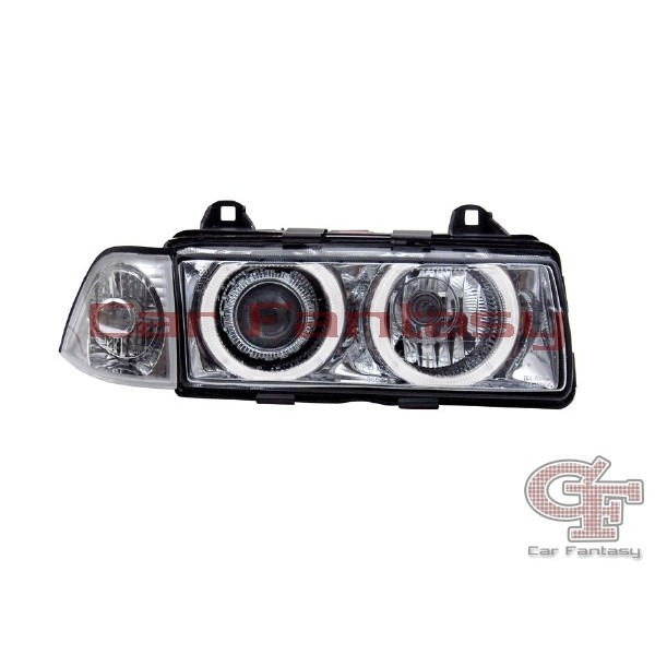 Koplampen BMW E36 limousime Angel Eyes Chroom