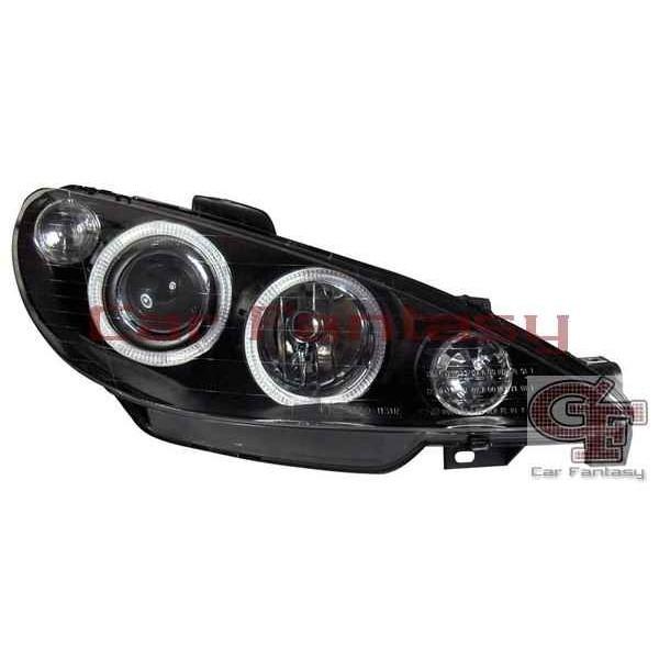 Koplampen Peugeot 206 Angel Eyes zwart