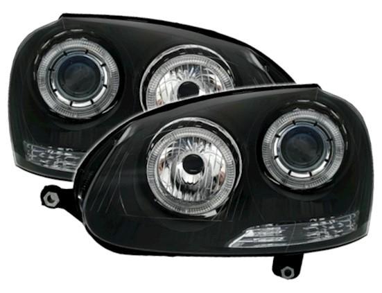 Koplampen VW Golf V Angel Eyes zwart
