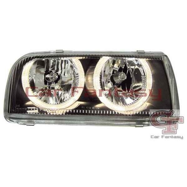 Koplampen VW Vento Angel Eyes zwart