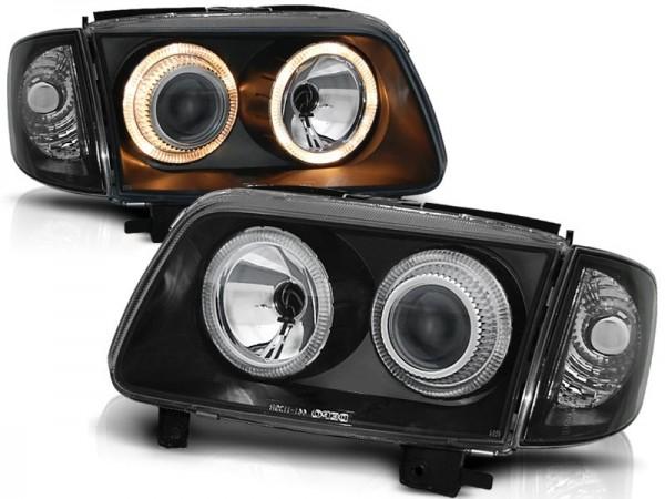 Koplampen VW Polo 6N2 99-01 Angel eyes zwart