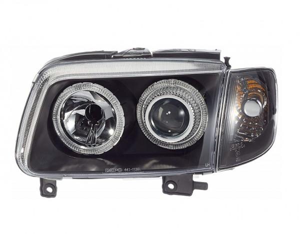 Koplampen VW Polo 6N2 Angel eyes zwart