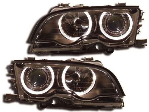 Koplampen BMW E46 coupe/cabrio 99-01 Angel Eyes zwart