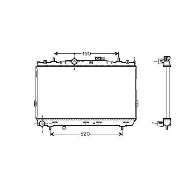 Radiator ELANTRA/COUPE II 00-06 375x670 1.6I-16V/2.0I-16V +/-AC