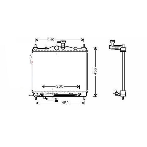 Radiator GETZ 02->> 372x495 1.5-16V/1.6-16V +/-AC