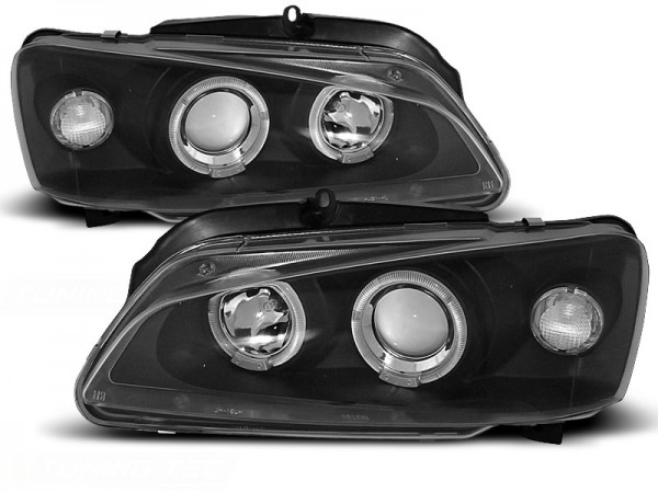 Koplampen Peugeot 106 96-99 Angel Eyes zwart
